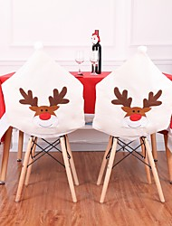cheap -New Year'S Deer Chair Cover 2 Pieces. Christmas Dinner Table Elk White Chair Cover For House