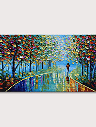cheap -Oil Painting Hand Painted Landscape Abstract Landscape Modern Stretched Canvas With Stretched Frame