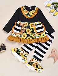 cheap -Baby Girls' Active / Basic Black & White Striped / Print Ruffle / Print Long Sleeve Regular Regular Clothing Set Rainbow