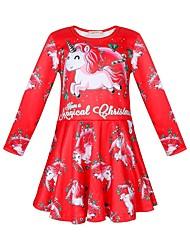 cheap -Kids Girls' Active Sweet Santa Claus Cartoon Christmas Print Long Sleeve Knee-length Dress Red
