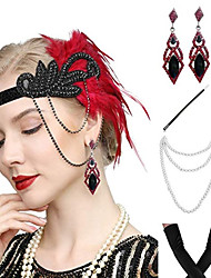 cheap -The Great Gatsby Vintage 1920s The Great Gatsby Gloves Flapper Headband Women's Feather Costume Necklace Earrings Black / Red Vintage Cosplay Festival / Headwear / Headwear