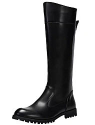 cheap -Men's Fashion Boots Nappa Leather / Synthetics Winter / Fall & Winter Vintage / British Boots Warm Knee High Boots Black / Party & Evening
