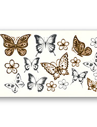 cheap -10 pcs Flower Butterfly Fake tattoo pattern Metallic Gold Sliver Waterproof Temporary Stickers Water Transfer Sexy Beauty Body Art