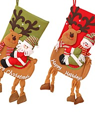 cheap -Big Snowman Riding Deer Christmas Stockings Christmas Tree Hanging Gift Bag Socks Hanging Gift Bag