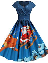 cheap -Women's Red Royal Blue Dress Elegant Street chic Christmas Party Casual A Line Animal Snowflake V Neck Snowman Print S M