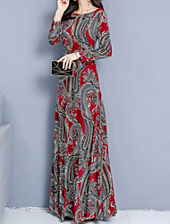 cheap -Women's Maxi Red Dress A Line Geometric Print Print S M
