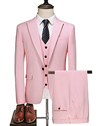 cheap -Blushing Pink Solid Colored Slim Fit Polyester Suit - Peak Single Breasted One-button