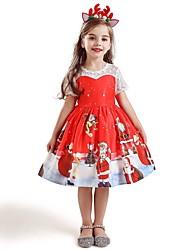 cheap -Kids Girls' Active Sweet Santa Claus Christmas Print Short Sleeve Knee-length Dress Red