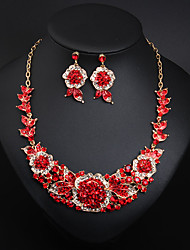 cheap -Women's Crystal Bridal Jewelry Sets Fancy Flower Statement Colorful Earrings Jewelry bright red / Royal Blue / Pink For Wedding Party 1 set