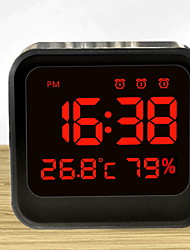cheap -Digital Alarm Clock with  LED Screen Date & Time Display, Bedside Table Travel Clock, Monitor Temperature Humidity