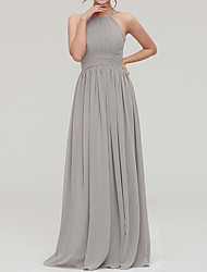 cheap -A-Line Halter Neck Floor Length Chiffon Bridesmaid Dress with Pleats / Open Back