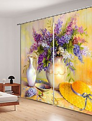 cheap -Oil Painting Style Vase Digital Printing 3D Curtain Shading Curtain High Precision Black Silk Fabric High Quality Curtain