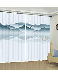 cheap -Digital Printing of Reversed Landscape Painting 3D Curtain Shade Curtain High Precision Black Silk Fabric High Quality First-class Shade Bedroom Living Room Curtain