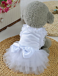 cheap -Dogs Cats Pets Dress Dog Clothes White Costume Baby Small Dog Polyster Lace Princess Wedding XS S M L XL