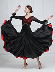 cheap -Ballroom Dance Dress Lace Split Joint Crystals / Rhinestones Women's Training Performance Long Sleeve Imitation Silk