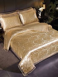 cheap -Duvet Cover Sets Ultra Soft Viscose Jacquard/ Stripes Ripples Polyester/ Luxury Gold Lace/ 4 Piece Bedding Sets