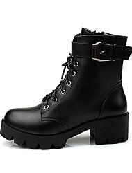cheap -Women's Boots Chunky Heel Round Toe PU Fall Black