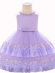 cheap -Baby Girls' Active Solid Colored / Color Block Bow / Layered / Pleated Sleeveless Knee-length Dress Purple