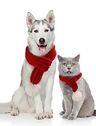 Недорогие -Собаки Коты Шарф для собаки Зима Одежда для собак Зеленый Красный Серый Костюм Корги Гончая Шиба-Ину Акриловые волокна Однотонный Рождество Рождество S M L