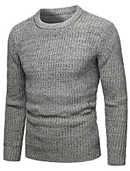 cheap -Men's Solid Colored Long Sleeve Pullover Sweater Jumper, Round Neck Fall / Winter Wine / Navy Blue / Gray L / XL / XXL