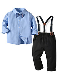 cheap -Kids Toddler Boys' Basic Birthday Party Party & Evening Solid Colored Long Sleeve Regular Regular Clothing Set Light Blue