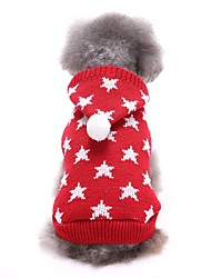 cheap -Dog Sweater Puppy Clothes Stars Casual / Daily Winter Dog Clothes Puppy Clothes Dog Outfits Red Blue Costume for Girl and Boy Dog Acrylic Fibers XS S M L XL XXL