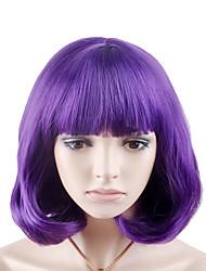 Недорогие -Парики из искусственных волос Крупные кудри Аккуратная челка Парик Короткие Фиолетовый Искусственные волосы 12 дюймовый Жен. Модный дизайн Женский Фиолетовый