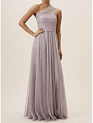 cheap -A-Line One Shoulder Floor Length Chiffon Bridesmaid Dress with Pleats / Open Back