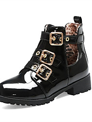 cheap -Women's Boots Block Heel Round Toe Booties Ankle Boots Daily Office & Career PU Buckle Solid Colored White Black Brown / Booties / Ankle Boots / Booties / Ankle Boots