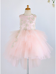 cheap -Ball Gown Knee Length Flower Girl Dress - Satin / Tulle Sleeveless Jewel Neck with Pearls