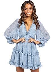 cheap -Women's Daily Wear Basic Chiffon Dress - Geometric Ruffle Print Light Blue Green S M L XL