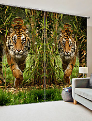 cheap -Tiger Digital Printing 3D Curtain in Bamboo Forest High Precision Black Silk Fabric High Quality Curtain
