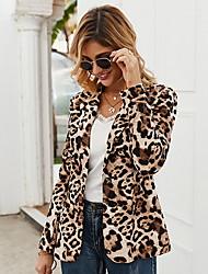 cheap -Women's Blazer, Leopard Peaked Lapel Polyester Brown