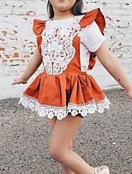 cheap -Kids Girls' Cute Color Block Dress Brown