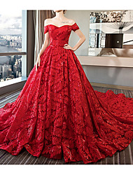 cheap -A-Line Off Shoulder Court Train Polyester Short Sleeve Made-To-Measure Wedding Dresses with Beading / Appliques 2020