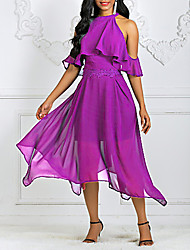 cheap -Women's Asymmetrical Swing Dress - Solid Colored Halter Neck Wine Purple S M L XL