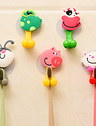 cheap -4pcs Animal Cute Cartoon Suction Cup Toothbrush Holder Bathroom Accessories Set Wall Suction Holder Tool