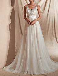 cheap -A-Line V Neck Sweep / Brush Train Tulle Regular Straps Mordern Illusion Detail Made-To-Measure Wedding Dresses with Beading / Appliques 2020