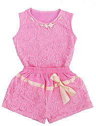 cheap -Baby Girls' Active / Basic Solid Colored Bow Sleeveless Regular Regular Clothing Set Blushing Pink