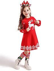 cheap -Kids Toddler Girls' Active Sweet Deer Animal Snowflake Christmas Print Short Sleeve Knee-length Dress Blue