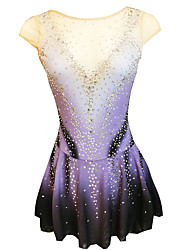 cheap -21Grams Figure Skating Dress Women's Girls' Ice Skating Dress Purple Open Back Spandex Micro-elastic Training Skating Wear Classic Crystal / Rhinestone Sleeveless Ice Skating Figure Skating / Kids