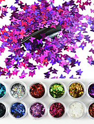 cheap -12 Colors/Set Laser Butterfly Nail Art Sequin Sparkle Acrylic Paillettes Holographic Glitter Flakes Tips 3D UV Gel Nail Polish Decorations