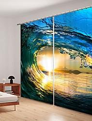 cheap -Water Wave Digital Printing 3D Curtain Shading Curtain High Precision Black Silk Fabric High Quality Curtain