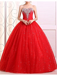 cheap -A-Line Sweetheart Neckline Floor Length Lace Strapless Made-To-Measure Wedding Dresses with Bow(s) / Crystals 2020