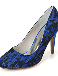 cheap -Women's Wedding Shoes Stiletto Heel Round Toe Lace Minimalism Fall / Spring & Summer White / Ivory / Royal Blue / Party & Evening