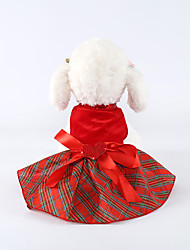 cheap -Dog Cat Dress Casual / Daily Cute Winter Dog Clothes Red Costume Polyester XXS XS S M L