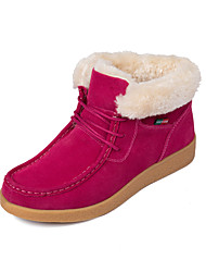 cheap -Women's Boots Snow Boots Flat Heel Round Toe Suede / Cowhide Booties / Ankle Boots Casual Winter Black / Brown / Red