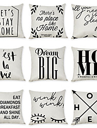 cheap -Set of 9 Linen Pillow Cover, Quotes & Sayings Letter & Number Fashion Modern Throw Pillow