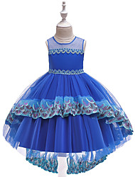 cheap -Ball Gown Asymmetrical Flower Girl Dress - Cotton Blend / Tulle Sleeveless Jewel Neck with Bow(s) / Cascading Ruffles / Pleats