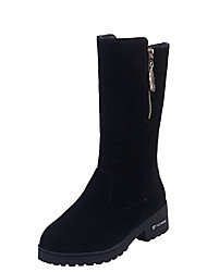 cheap -Women's Boots Flat Heel Round Toe Sequin Satin Mid-Calf Boots Casual Walking Shoes Fall & Winter Black